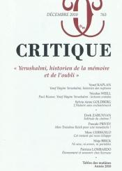 Critique. n° 763, Yerushalmi, historien de la mémoire et de l'oubli